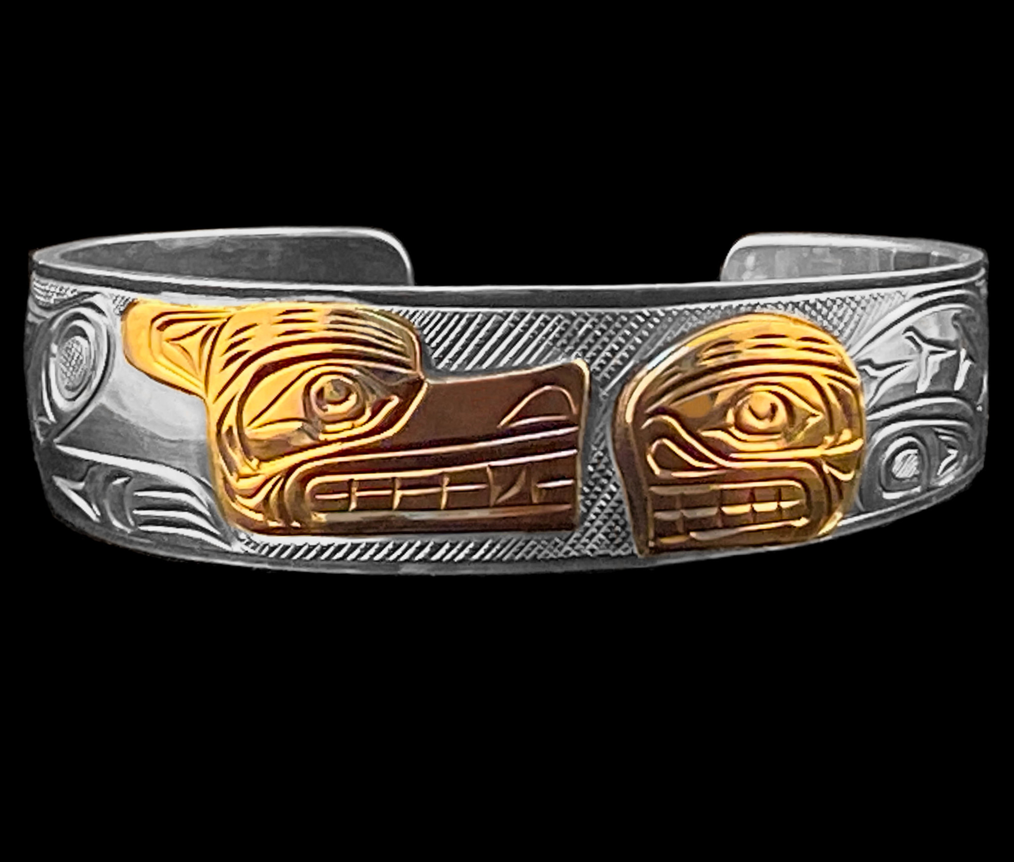 Silver Wolf / Orca  Bracelet with Gold Overlay