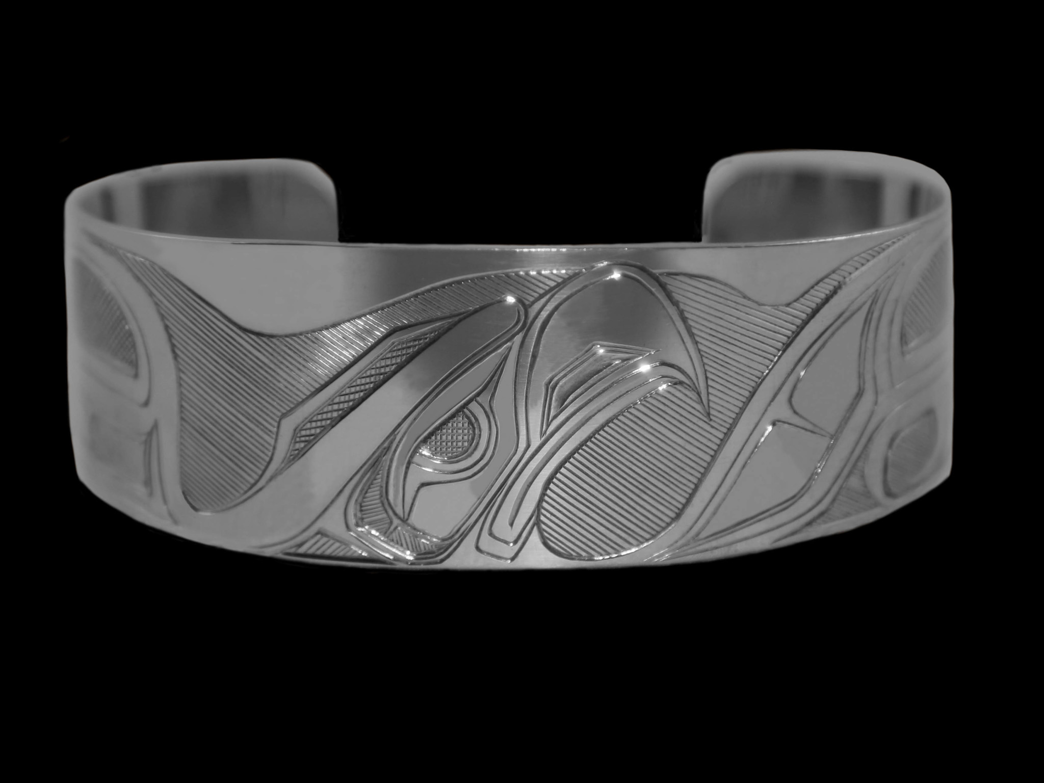 "1"" Silver Coast Salish Eagle Bracelet"