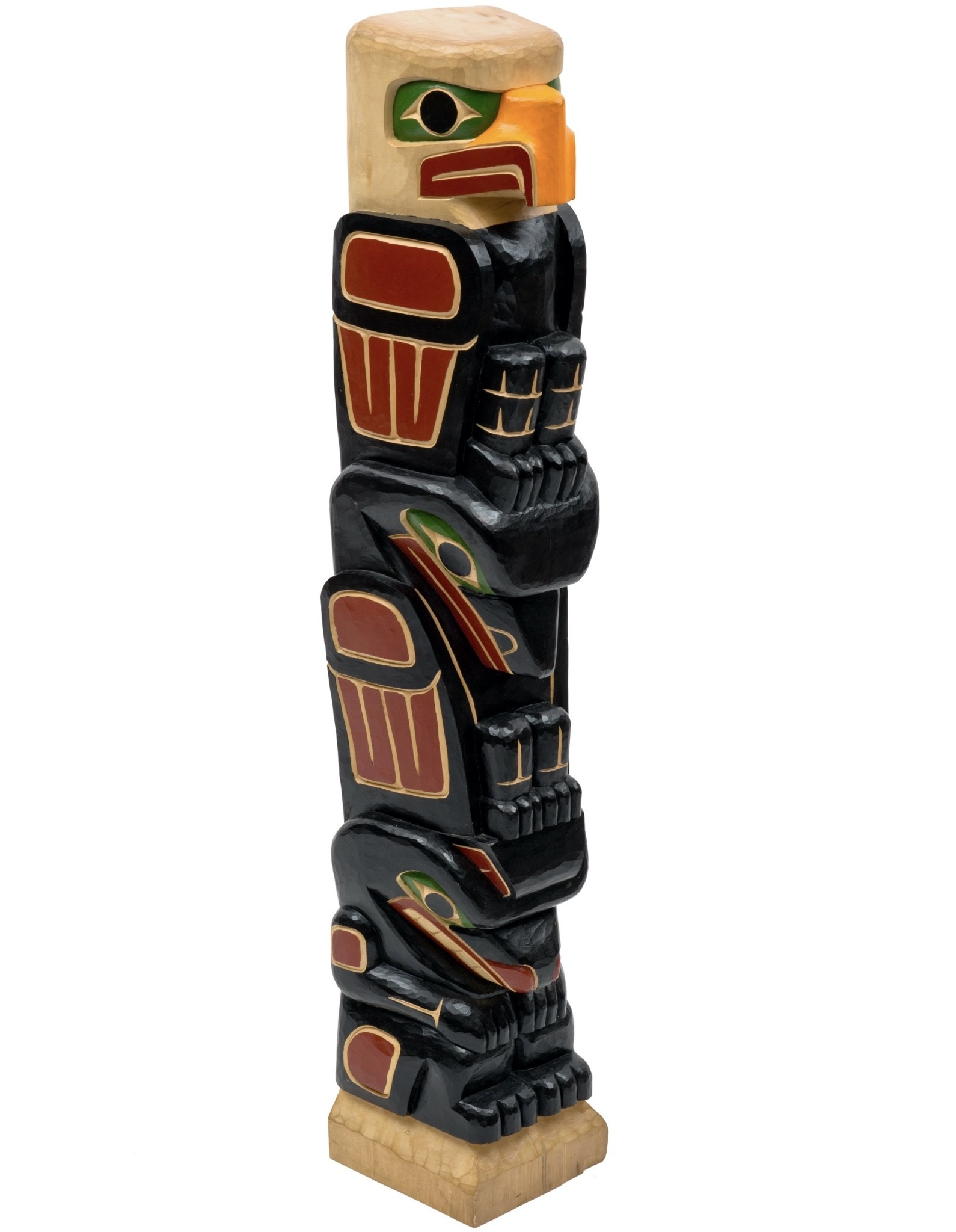 Coast Salish Totem Pole - Eagle, Raven, and Bear