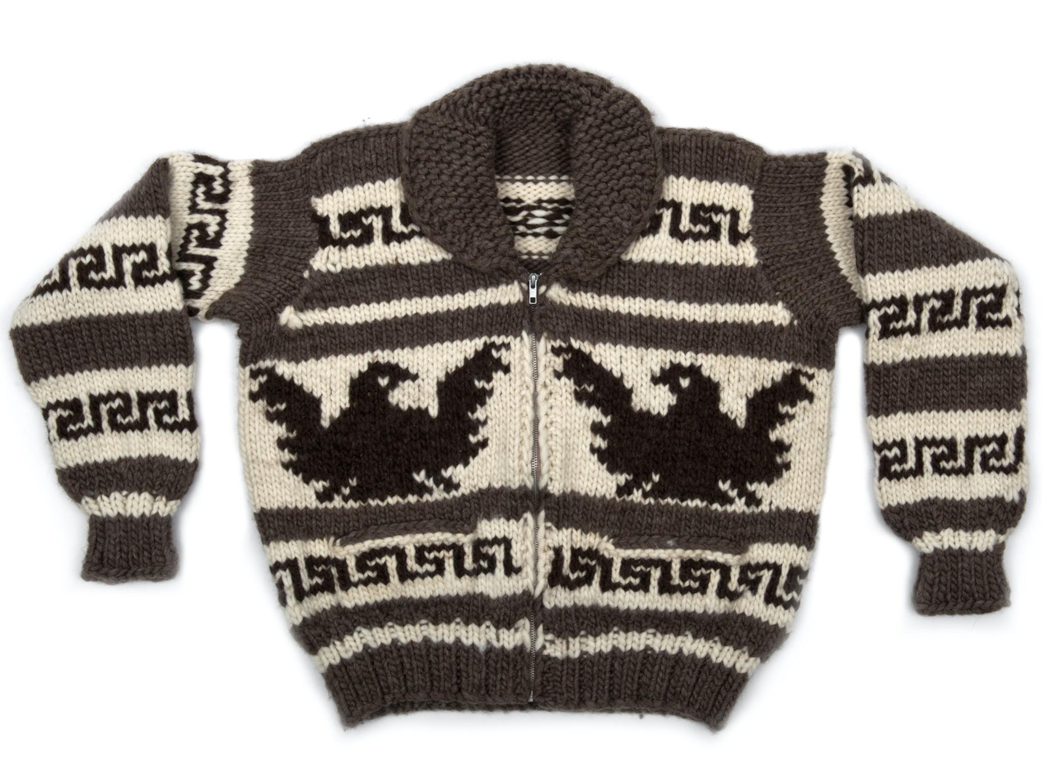 XXL Eagle Cowichan Sweater with Zipper