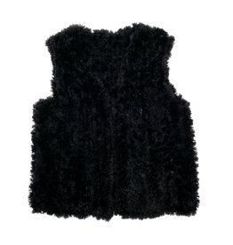Black Knit Beaver Fur Vest