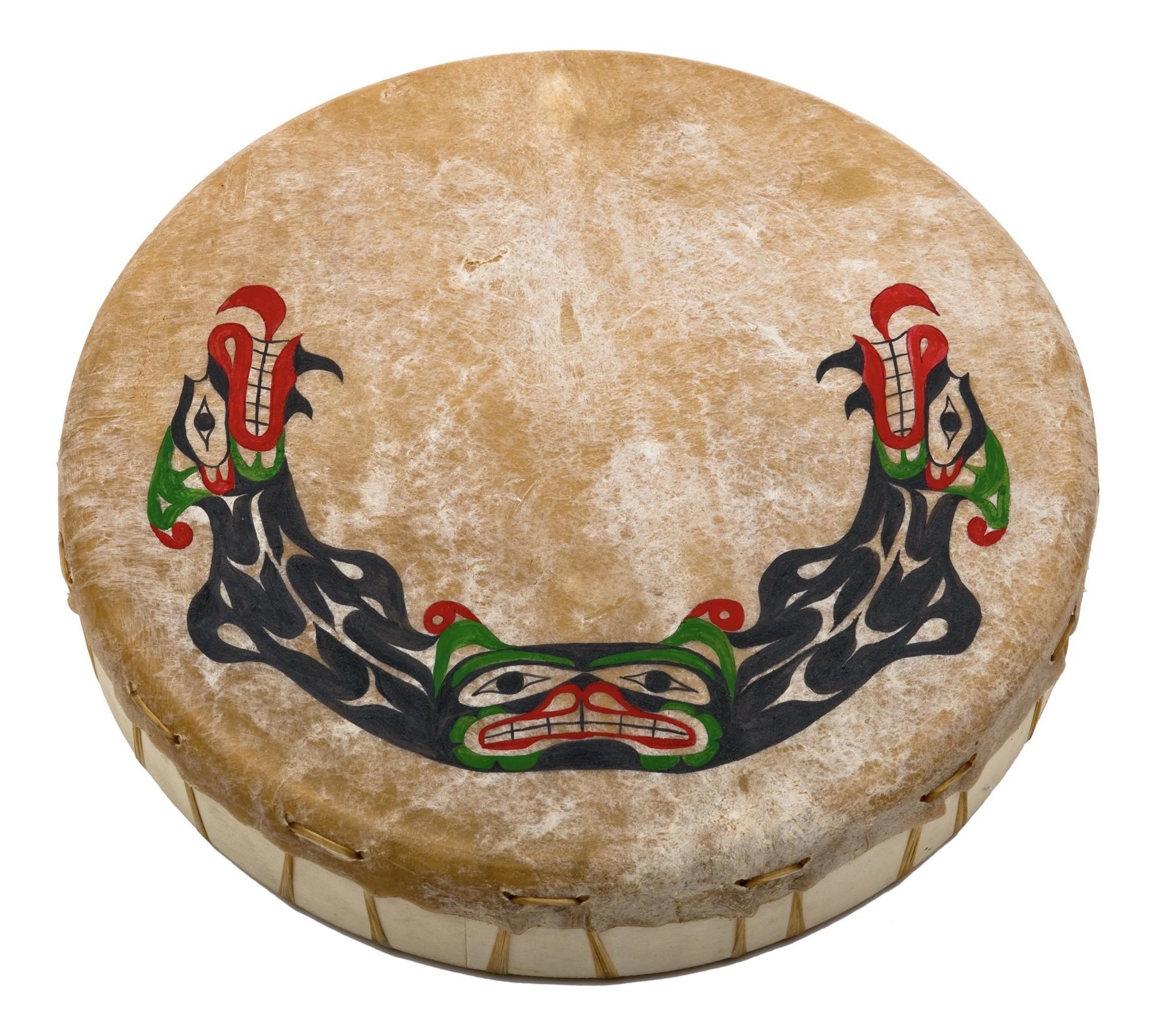 Coast Salish Hand-drum with Sisiutl Painting