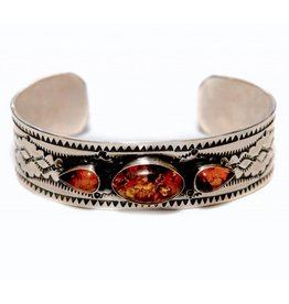 Silver and Amber Bracelet by Etta and Randy Endito