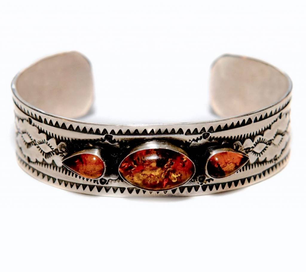 Silver and Amber Bracelet by Etta and Randy Endito (Navajo).
