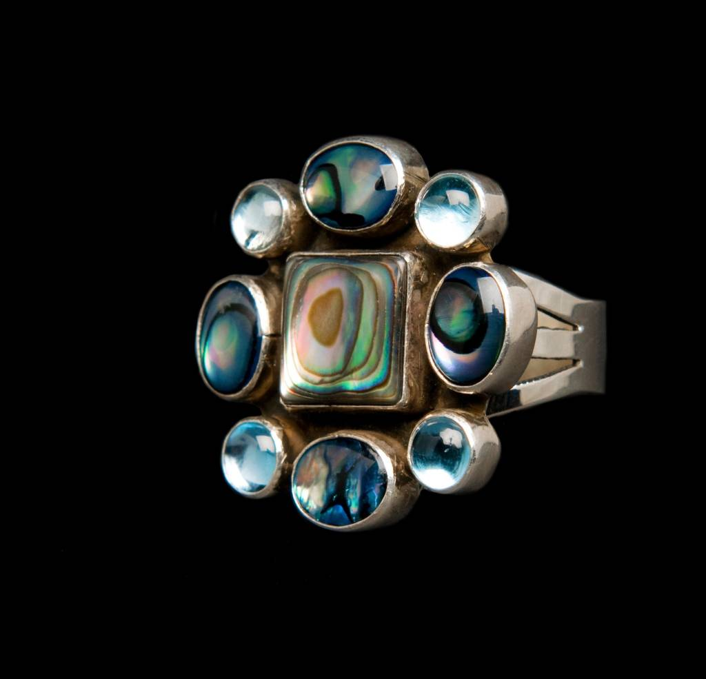 Abalone and Blue Topaz Navajo Cluster Ring