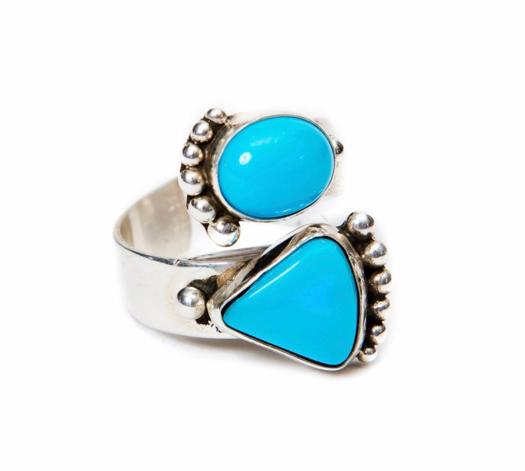 2 Stone Sleeping Beauty Turquoise Ring by Ruth Ann Begay (Navajo).