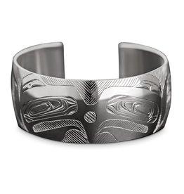 "1"" Silver Haida Eagle Bracelet"