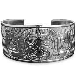 "1 1/2"" Silver Dzunaqua (Wild Woman) and Bears Bracelet"
