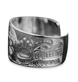 "1 1/2"" Silver Dzunaqua (Wild Woman) and Bears Bracelet"