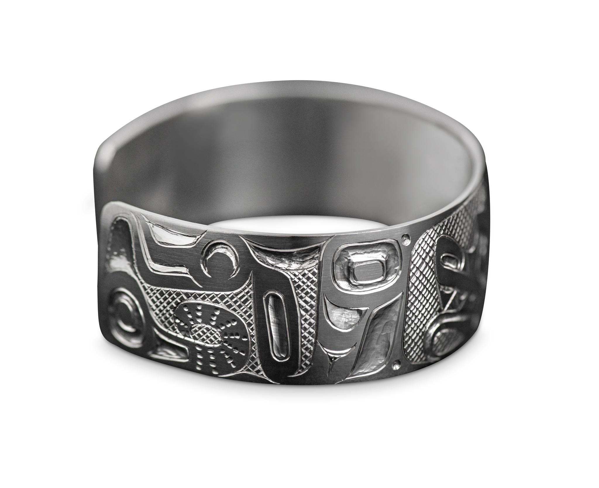 """3/4"""" Silver Tsimshian Double Wolf Bracelet"""