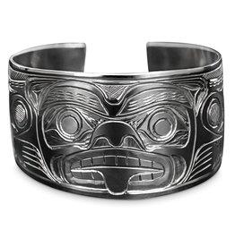 "1 1/2"" Silver Kwak'waka'wakw Bear Bracelet"