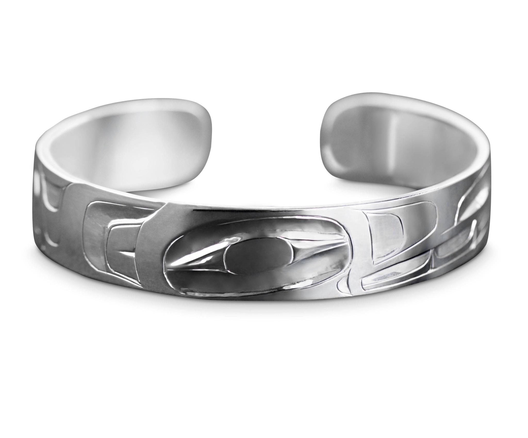 """1/2"""" Silver Haida Orca Bracelet"""