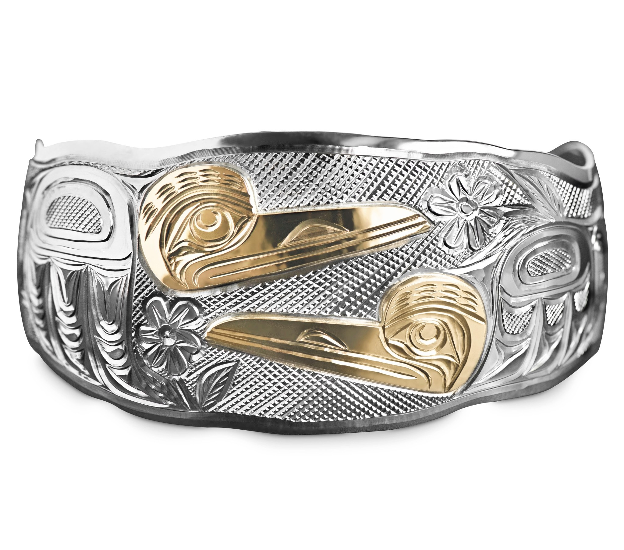 "1 1/2"" Tapered Double Hummingbirds Bracelet"