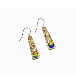 14Kt gold with AAA Ammolite Eagle Earrings