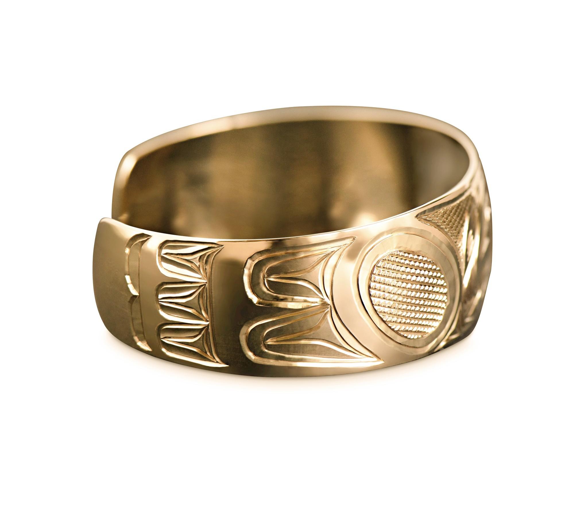"""Gold Eagle Bracelet 3/4"""" wide tapered"""