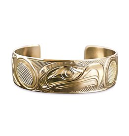 "Gold Eagle Bracelet 3/4"" wide tapered"