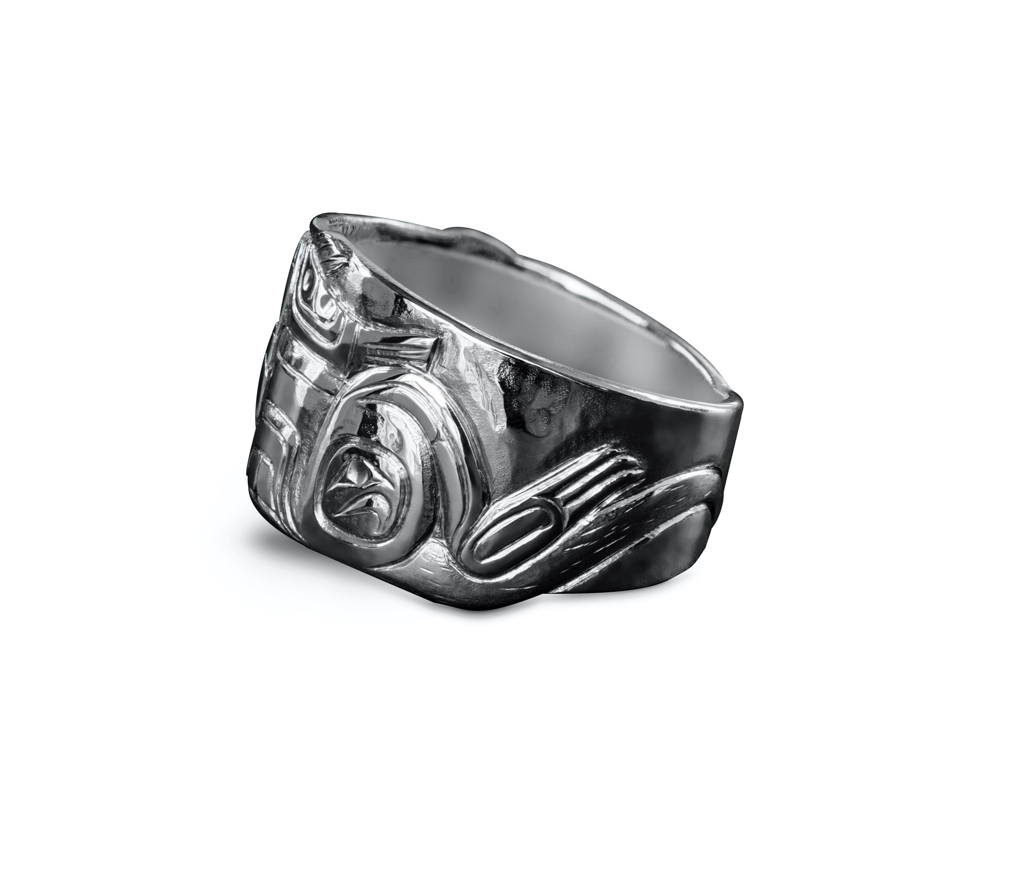 Silver Repouse Otter with Salmon Ring