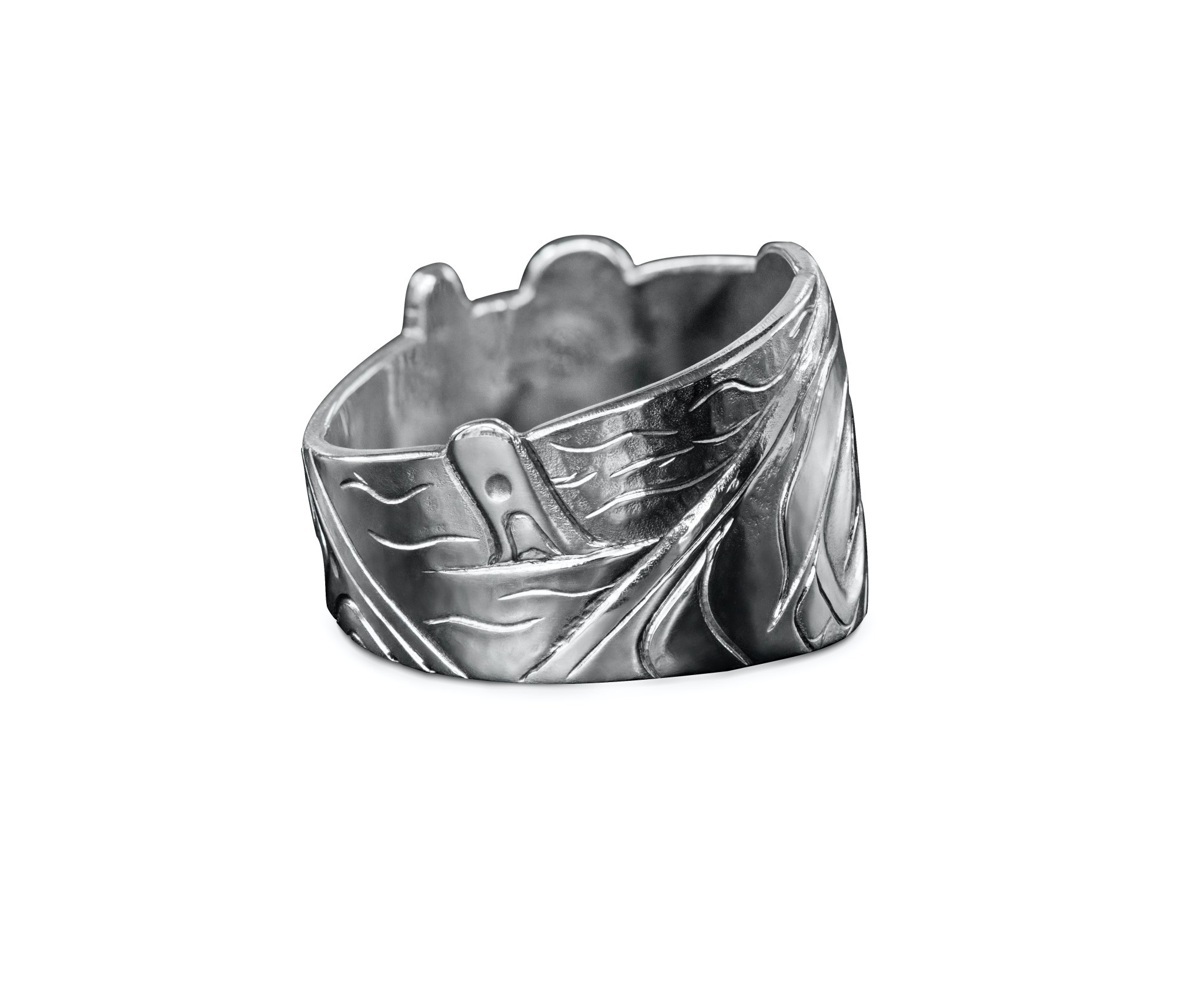 Silver Repouse Orca Ring