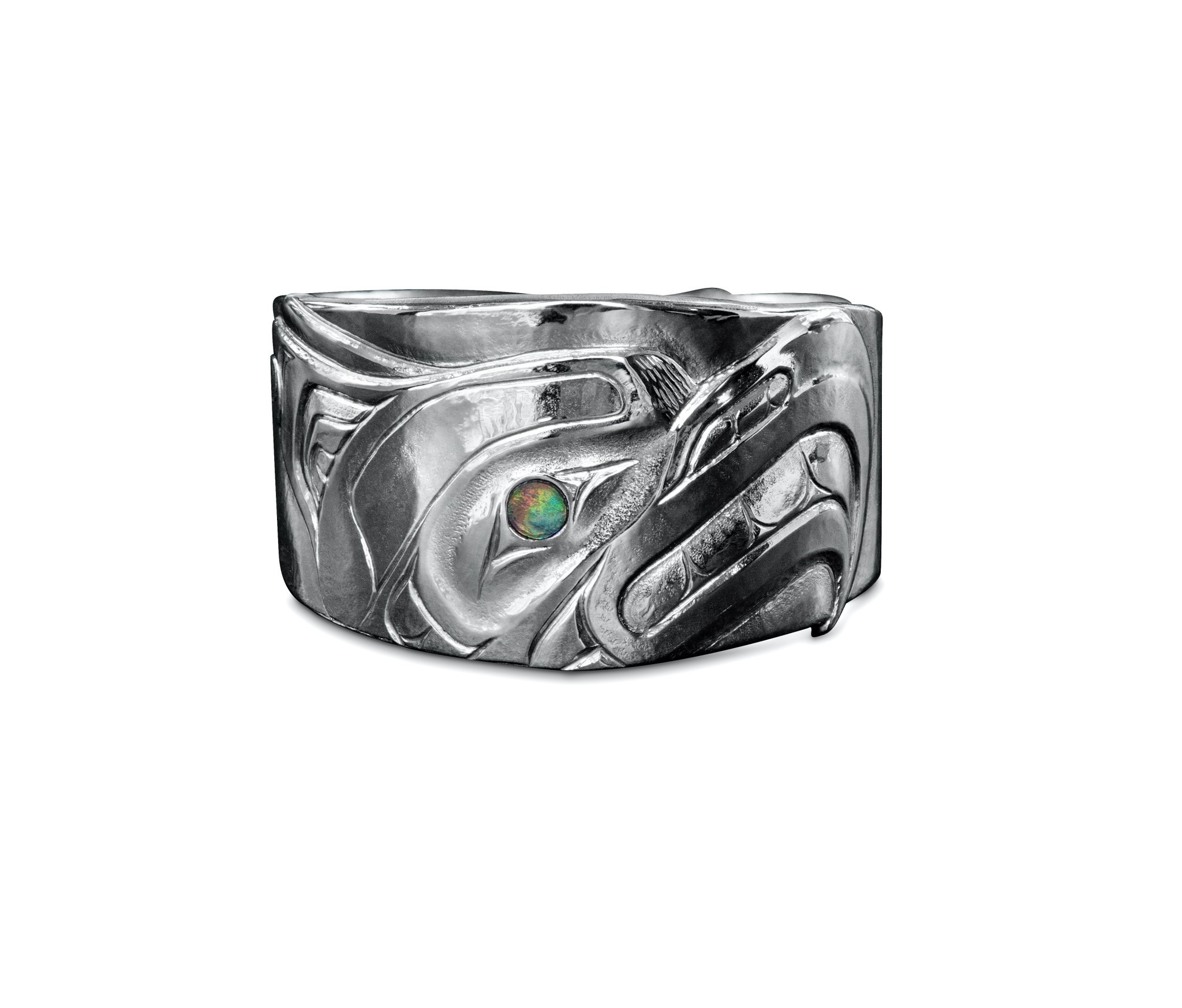 Silver Repouse Thunderbird Ring