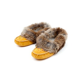 Ladies Natural Rabbit Fur Trim Moccasin