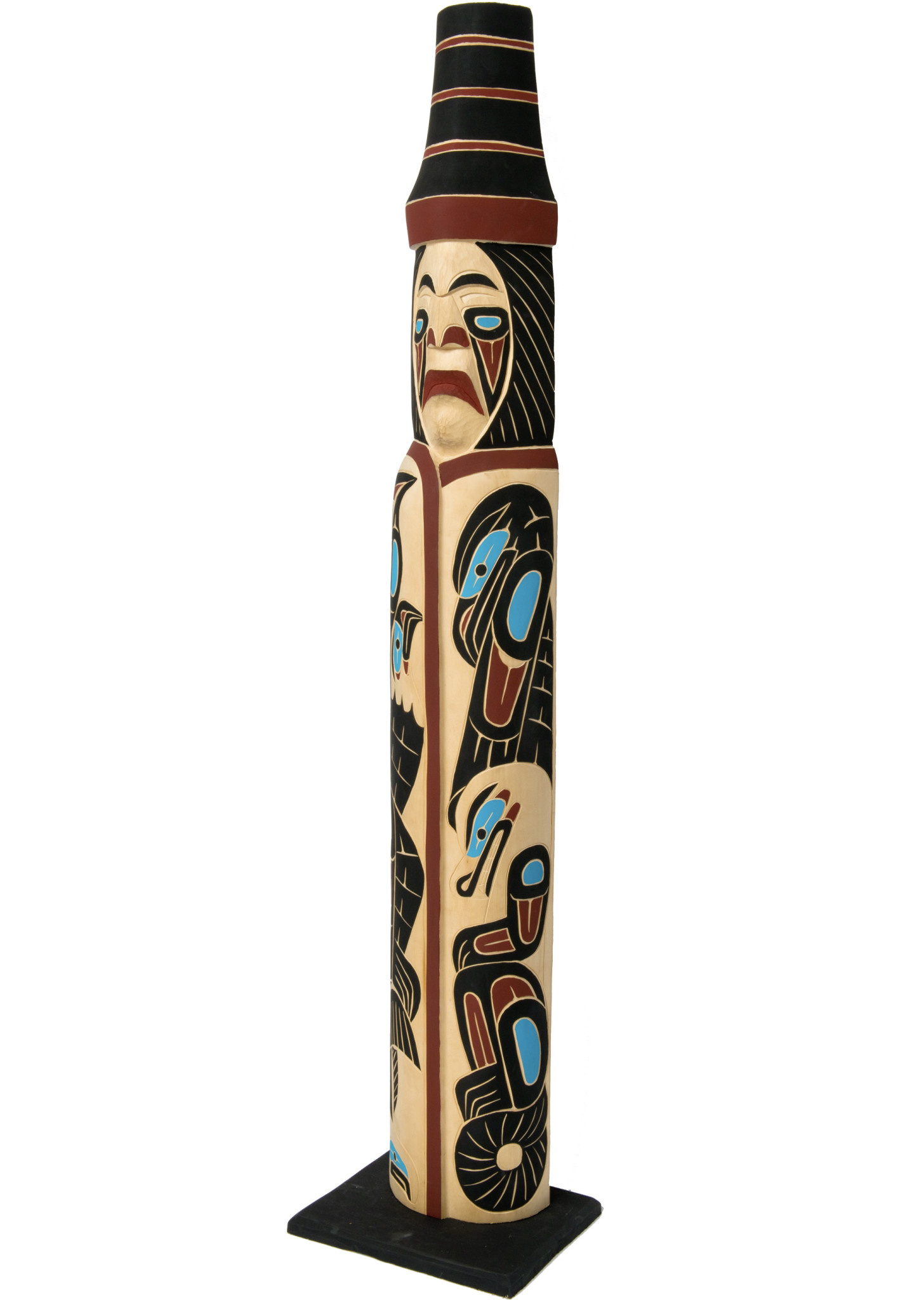 Coast Salish Man Wearing A Blanket  Totem Pole