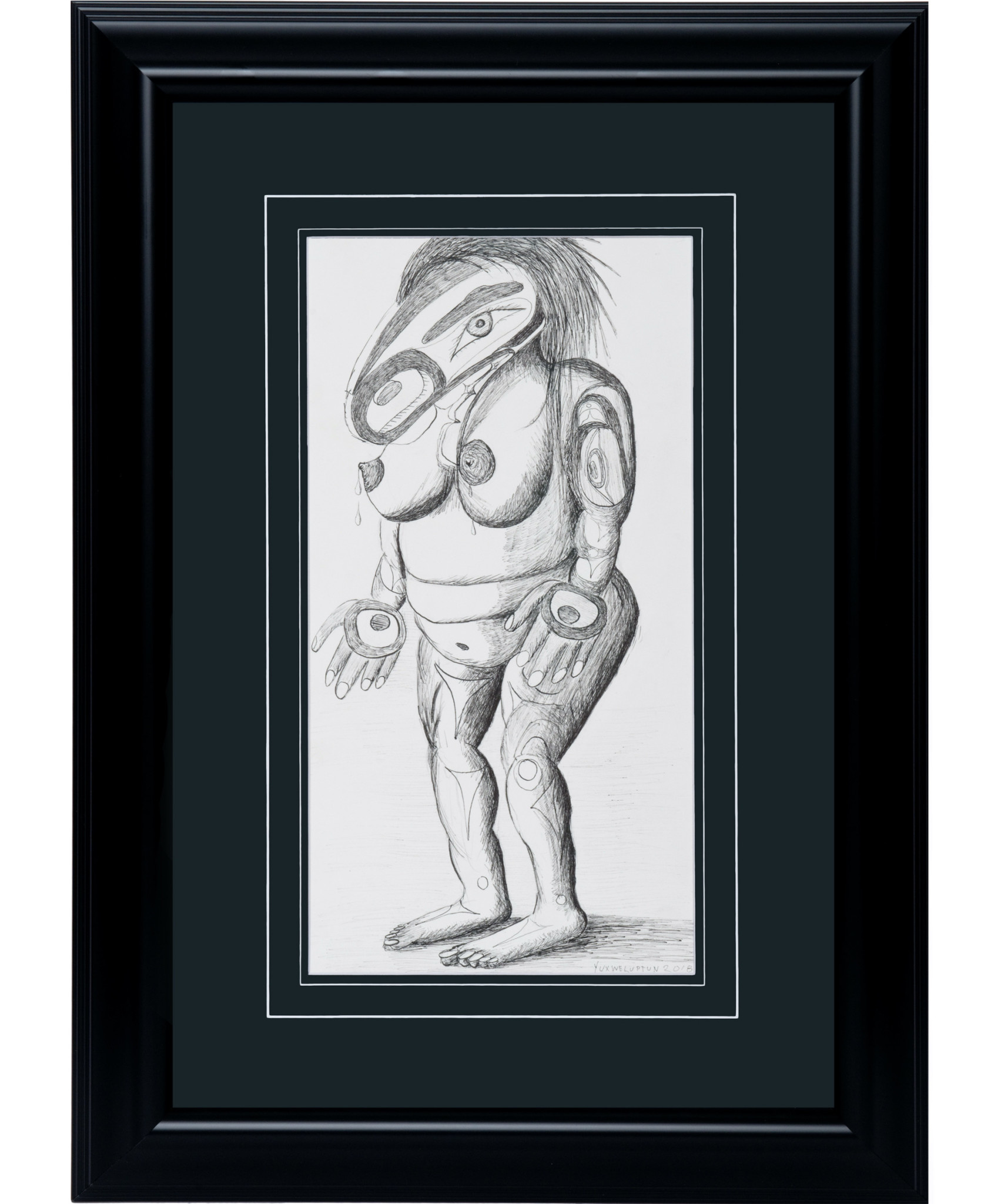 Framed 'Lactating Mother' Drawing by Lawrence Paul