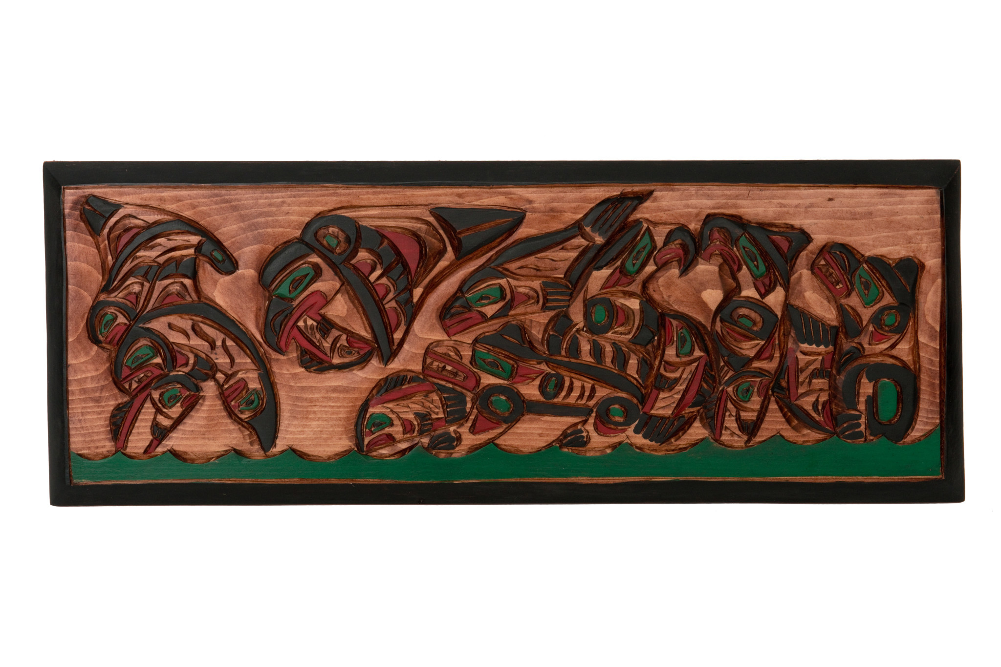 West Coast Wildlife Feasting on Salmon - Panel by George Matilpi