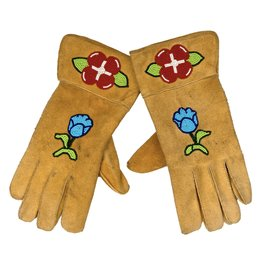 Beaded Handmade Moosehide Gloves
