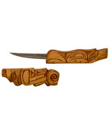 Knife with Carved Handle and Sheath - Thunderbird and Wolf