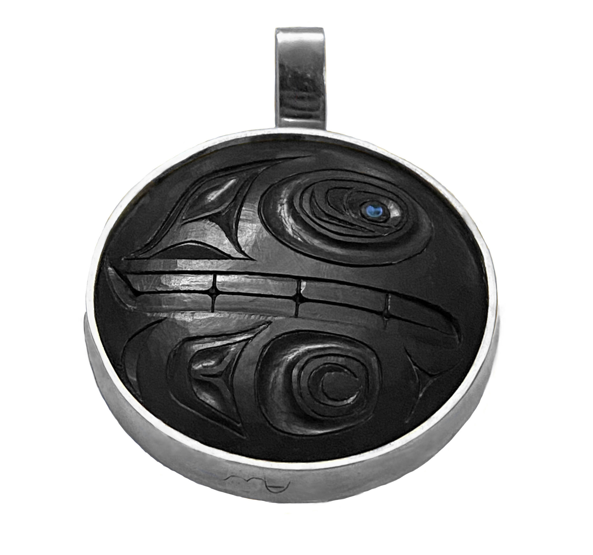 Haida Argillite/Silver Orca Bear Pendant