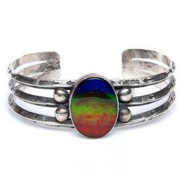 Southwestern Silver and AAA Ammolite Bracelet