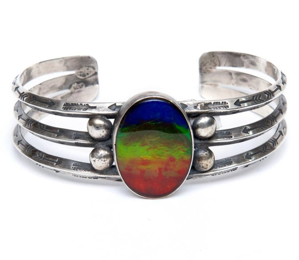 Silver and Ammolite Bracelet by Randy and Etta Endito (Navajo).