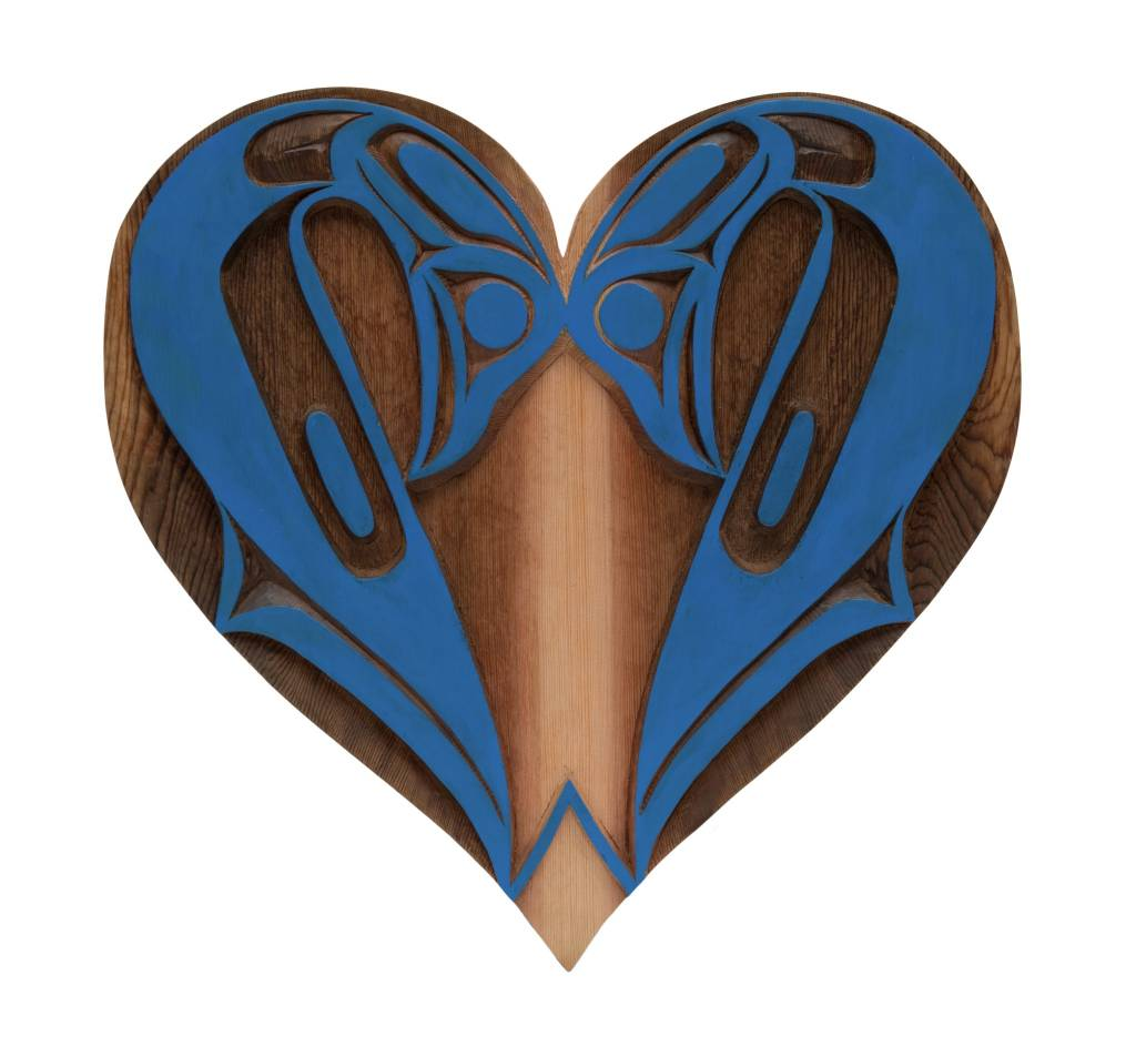 Double Swan Heart Carving by Curtis Joe (Coast Salish).