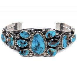 11 Stone Morenci Turquoise Bracelet by Verdi Jake