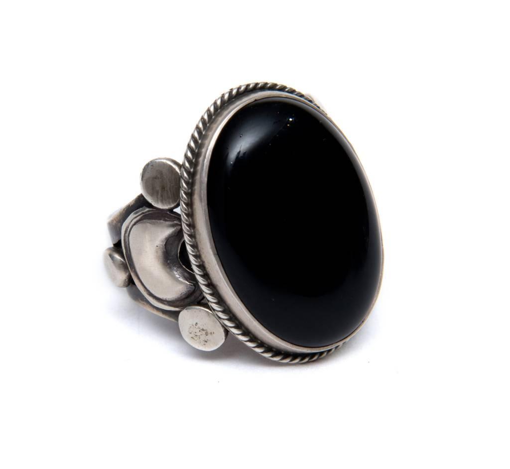 tsaw Black Onyx Ring by Randy and Etta Endito (Navajo).