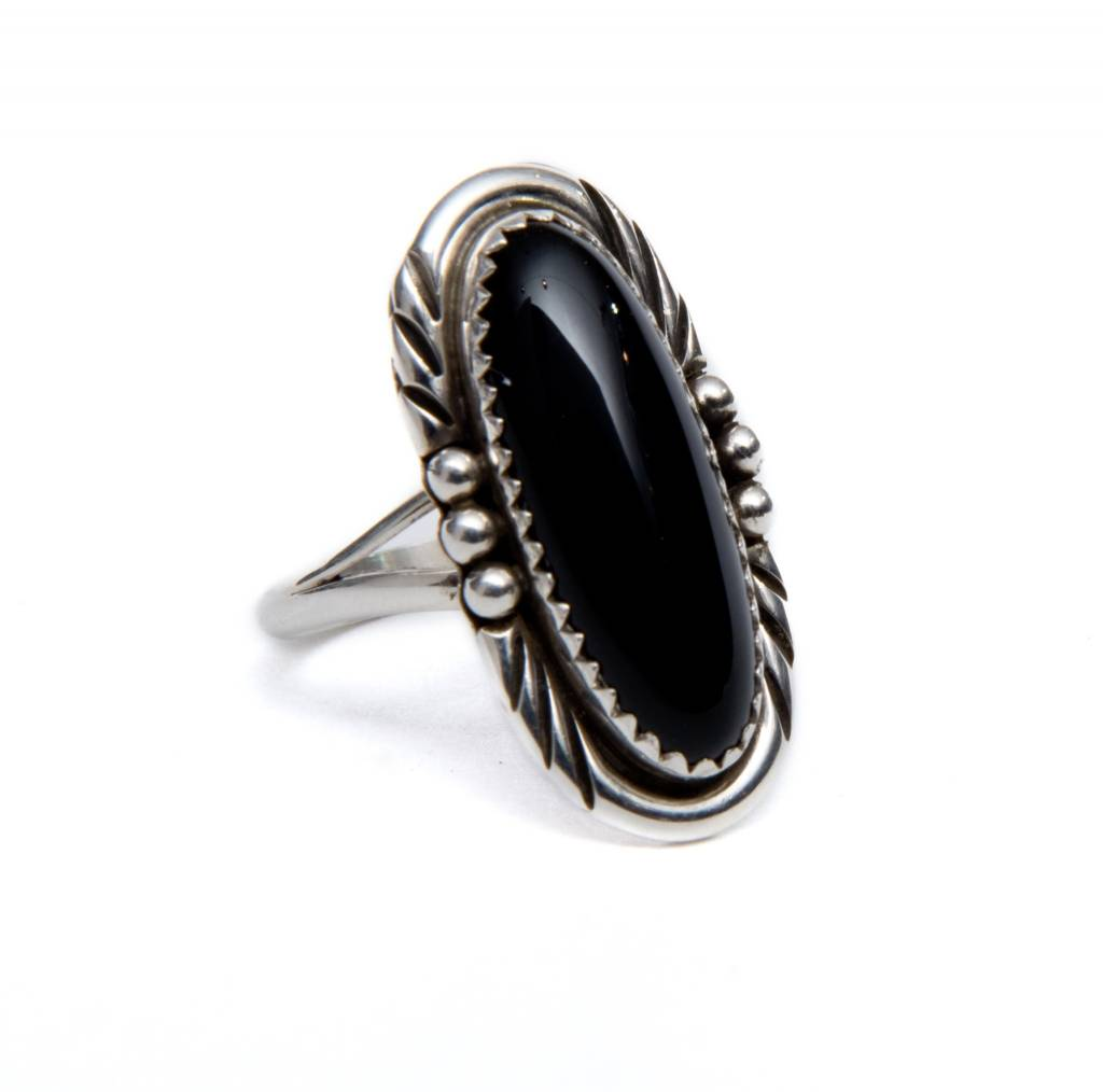 Long Black Onyx Ring by Randy and Etta Endito (Navajo).