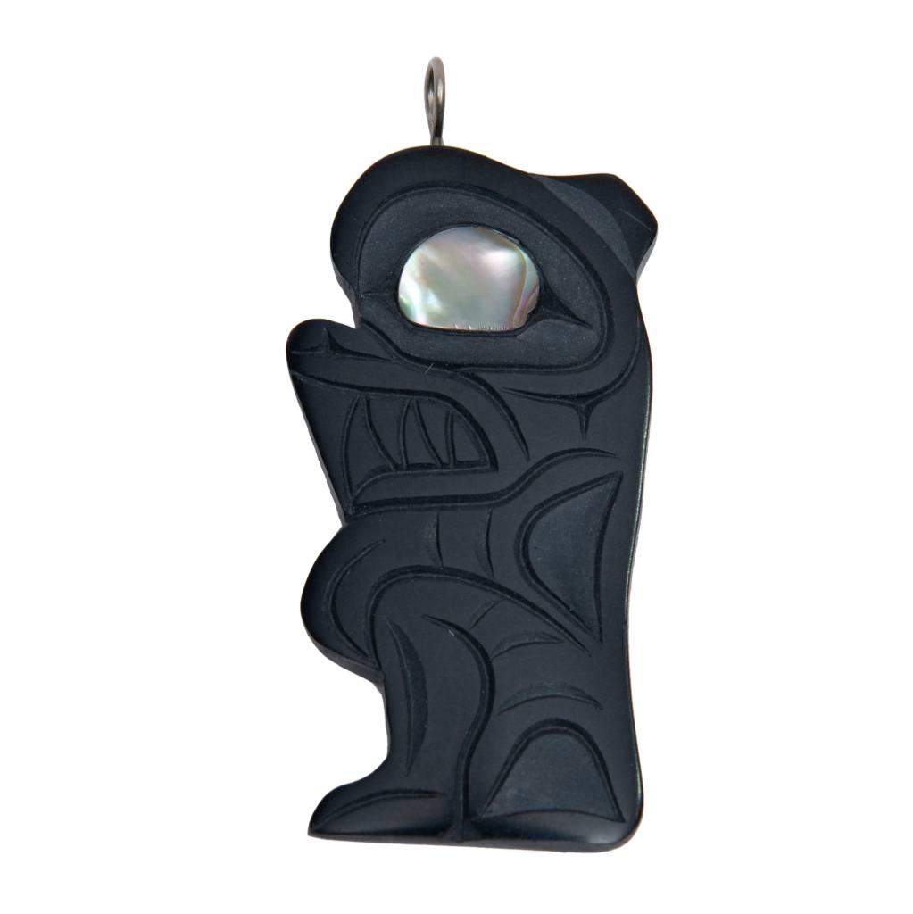 Argillite Grizzly Bear Pendant by Calvin Bell (Haida).