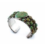 Vintage 1970's Green Turquoise Clustered Bracelet