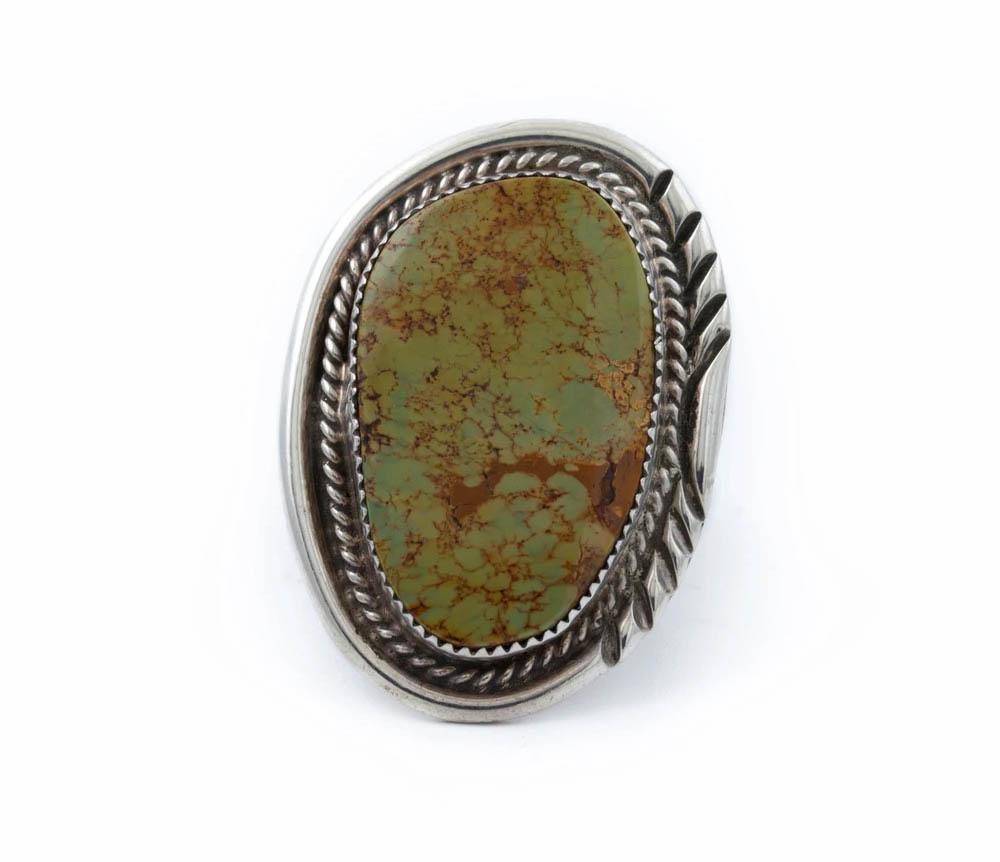 Large Mens Vintage Hachita Turquioise Ring