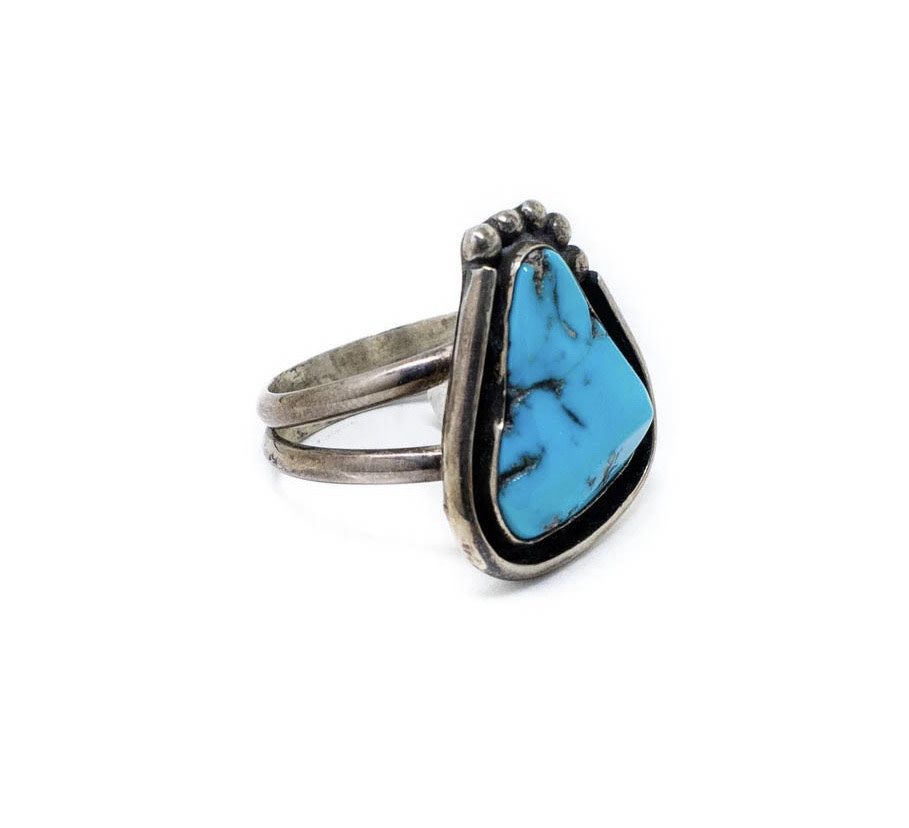 Pear Shaped Ring - Vintage Natural Turquoise