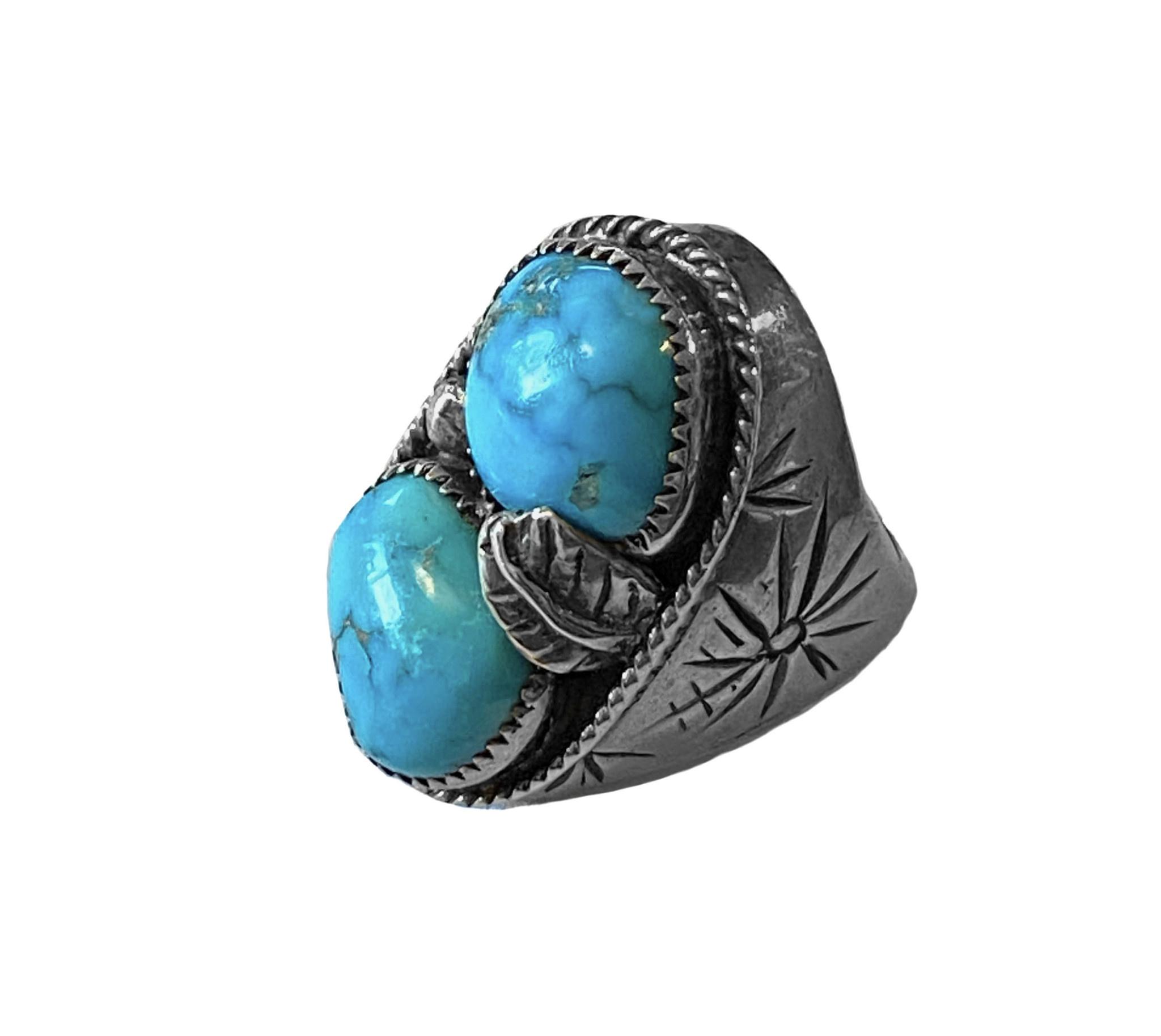 Vintage 2 Stone Turquoise Man's Ring
