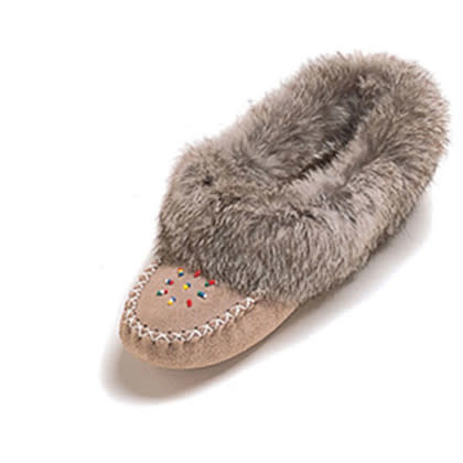 Ladies Stone Rabbit Fur Trim Moccasin