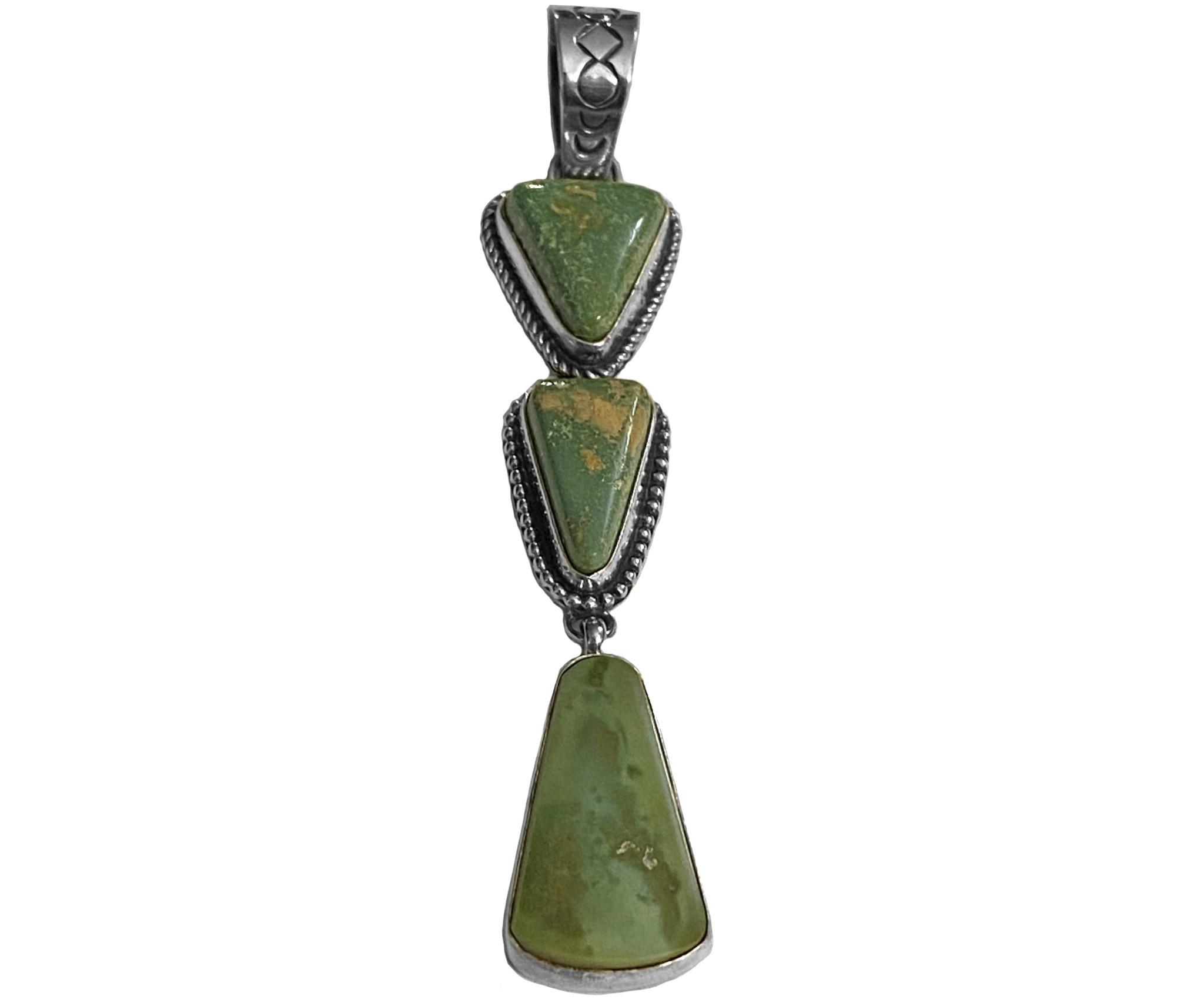 Three Stone  Natural Cerrilos Turquoise Pendant