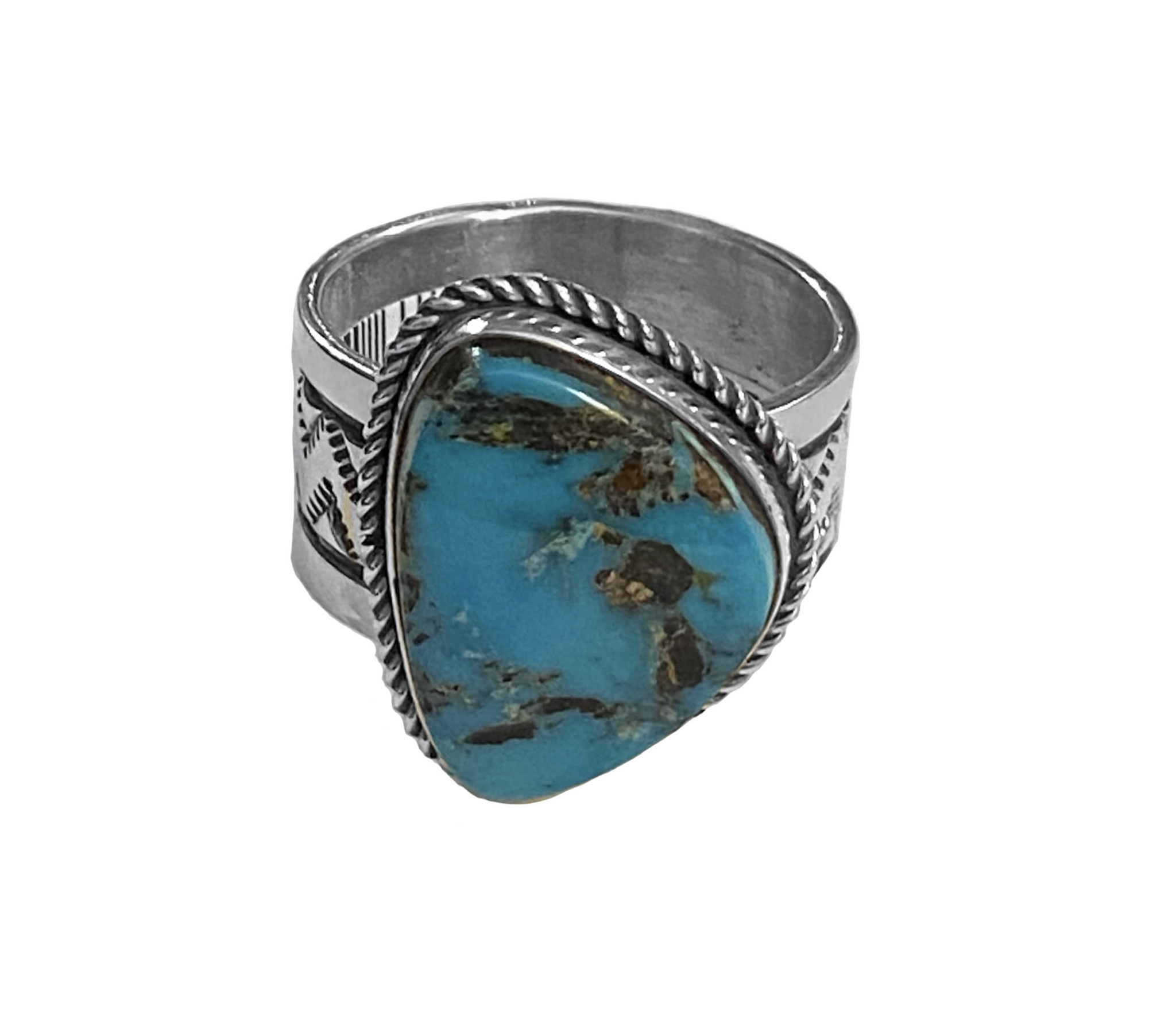 Size 10 Natural Blue Diamond Turquoise Ring
