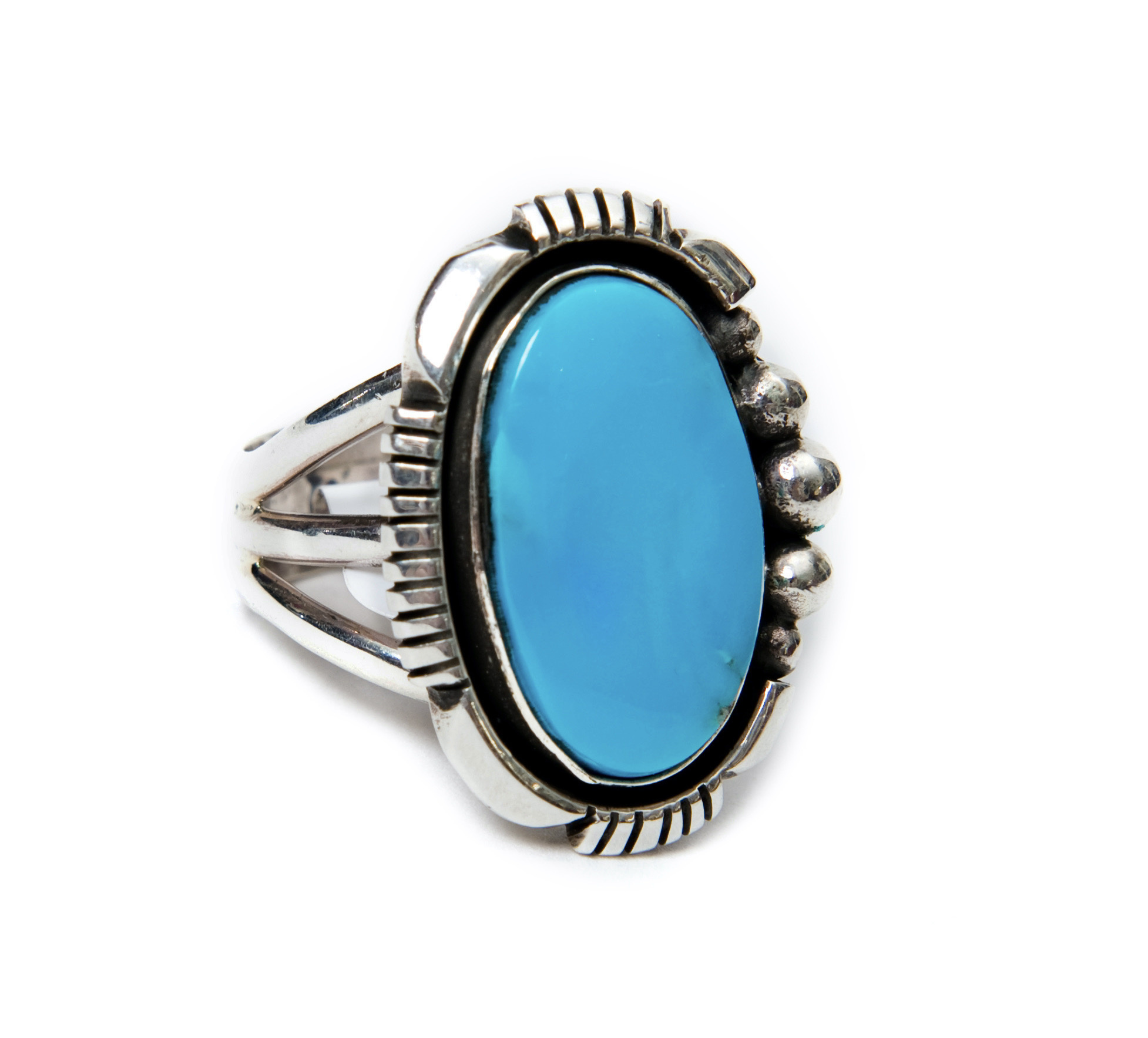 Natural Sleeping Beauty Turquoise Ring by Randy and Etta Endito (Navajo).