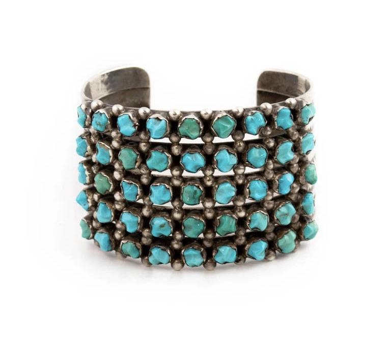 Vintage Turquoise Nugget Row Bracelet