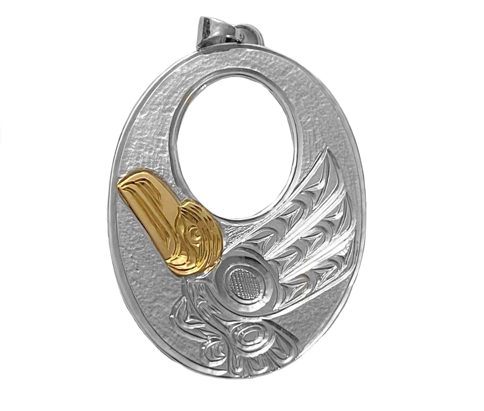 Silver and Gold Raven Pendant  (Squamish / Kwak'waka'wakw)