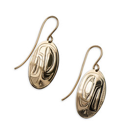 14 kt Gold Gitxsan Raven Earrings