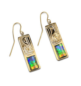 14Kt Raven Earrings with AAA Ammolite