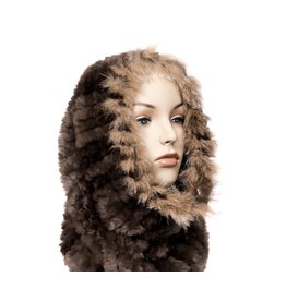 Luxuriously Soft Natural Fur Cowl / Infinity Scarf with Lynx Trim (Dene).